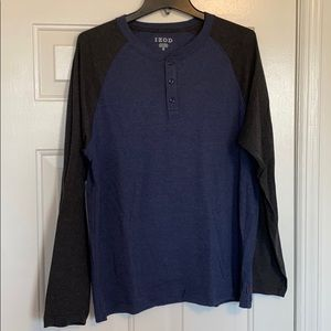 IZOD Raglan Henley Long Sleeve T Shirt